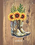 Notebook: 110 pages - college ruled composition notebook - Lined large journal 8.5 x 11 inches (eu A4 size approx) - Light grey lines - Beautiful Soft ... Farm style decor Cowgirl boots with sunflower
