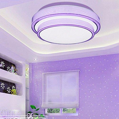 LonfennerIlluminazione a soffitto Tre colori luce camera da letto rotonda Minimalista moderna Camera da letto principale lampade e lanterne 41Cmwarm Light Viola 24W