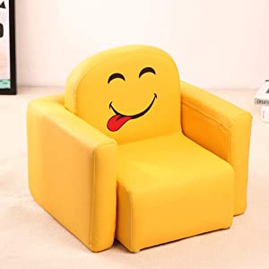 Child Baby Sofa Seat Armchairs Couches Solid Wood Washable Multifunction Leder Single Stool Cartoon for Living Room Bedroom and Playroom Yellow