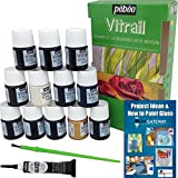 Glass Paint Stain Pebeo Vitrail: 12 Pack Ultra-Transparent Stained Glass Painting Kit + Faux Outliner + Brush + Instructional Guide