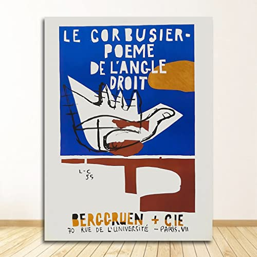 Decoración de pared moderna, póster de exposición de Le Corbusier, impresión del Museo de Arte Francés de 1954, lienzo sin marco A2 50x70cm