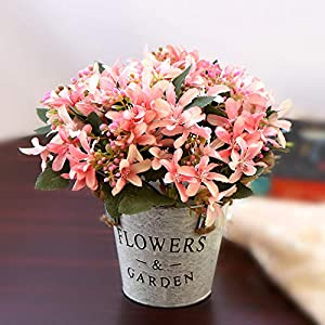 KLgeri Mini Artificial Fake Flowers Iron Vase Floral Decoration Fake Bouquet Small Potted Plant Dining Table Living Room Decoration Plastic Silk Flower (Pink Daffodil)