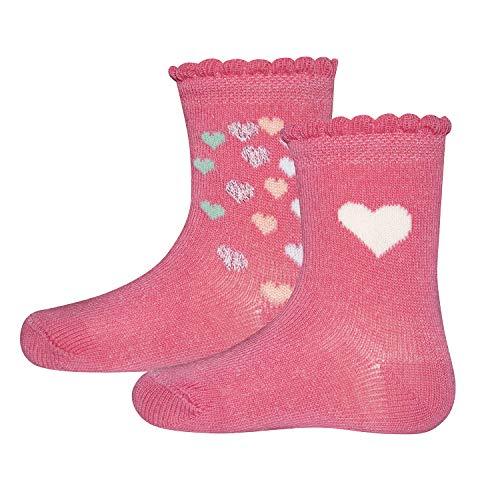 Ewers 2er Pack Herzen Kindersocken Mädchen, MADE IN EUROPE, Socken Doppelpack Baumwolle