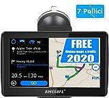 Navigatore Satellitare Auto, 7 Pollici GPS per Auto Moto Mappa dell'Europa Precaricata pi Recente, Avviso Traffico Vocale, Limite di Velocit, PDI, Rubrica, Pianificazione intelligente del percorso
