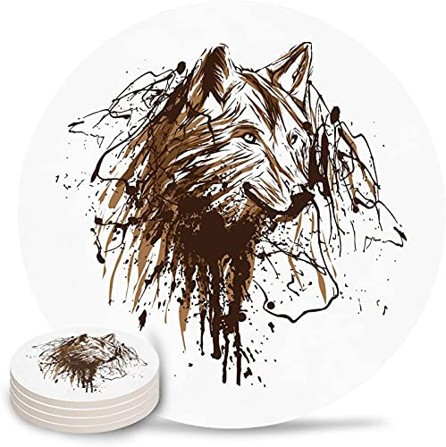 Untersetzer Zeichnung Wolfskopf Malerei Saugfähiger Steinkeramik Untersetzer mit Korkrücken und KEIN Halter für Tassen, 6-teiliges braunes Weiß-6