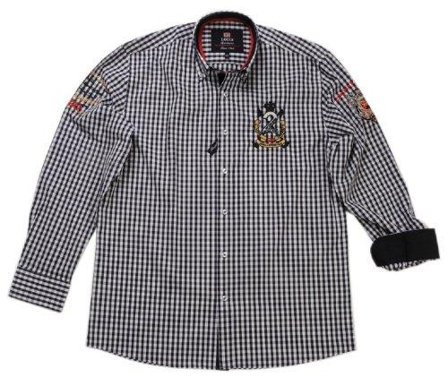 Tobeni Homme Marques Shirt avec Manches Longues Style décontracté en différentes Couleurs, Color:Blue-White Checkered;Size:UK 10-11 / EU 45-46