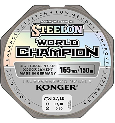 Sedal Konger World Champion recubierto de fluorocarbono, 0,10–0,30mm/150m, monofilamento, muy resistente -,...