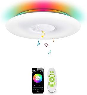 comprar comparacion OFFDARKS WIFI LED Lámpara de techo compatible con Amazon Alexa Google Assistant, altavoz Bluetooth, brillo ajustable, luz ...