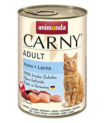 animonda Carny Adult Katzenfutter, Nassfutter für ausgewachsene Katzen, Huhn + Lachs, 6 x 400 g