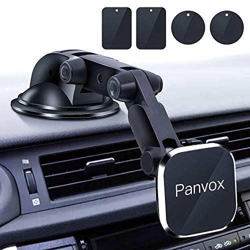 Magnetic Phone Car Mount, Panvox Universal Dashboard Windshield Car Phone Mount Holder with Upgraded 3.2' Suction Cup,8 Strong Magnets Compatible with iPhone 11 Pro X XS Max XR Galaxy Note10 S10