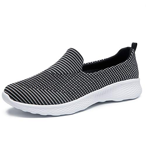 Women's Slip-On Shoes Casual Mesh Walking Sneakers Comfortable Shoes (8.5, Black/White 2)