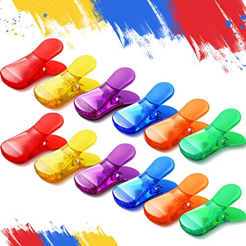 12 Pieces Plastic Magnetic Bag Clips MultiPurpose Magnetic Clips Wide Classic Bag Clips Colored Magnet Clips for Clamping Bags Documents Supplies 6 Colors