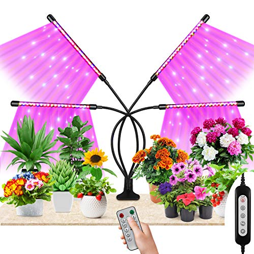 Maxuni Lámpara de Planta, Lámpara LED Cultivo con 4 Cabezales 80 Ledes 360º, Iluminación Hortícola con Cronometraje 4 8 12H, Mejor para Plantas Interiores [Clase energética A++]