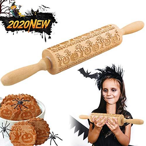 TTCOTOKE Teigroller, 2020 Neu Nudelholz Halloween, 3D Holz Nudelholz,Teigroller mit Muster Halloween Kürbis Mustern Präge Nudelholz, Halloween Dekoration BackzubehöR für Fondant Teig Pizza Amygline