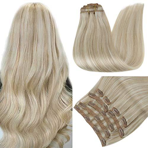 RUNATURE Clip in Extensions Echthaar Blond 16 Zoll 40cm Farbe 18P60 Aschblond Hervorgehoben Platinblond Haar Verlängerungen 100g 9 Stück Haarverlängerung Echthaar