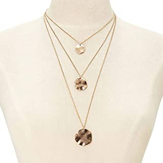 FDesigner Layered Disc Necklace Hammered Coin Pendant Chain Gold Delicate Jewelry for Women and Girls (Gold)