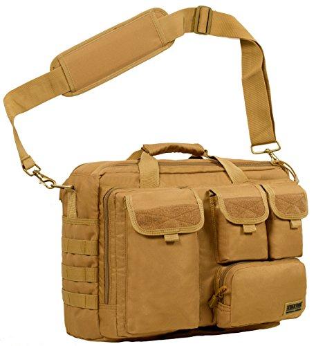 Seibertron Pro-Multifunktions Damen Herren militärische Taktische Tactical Außen Umhängetasche Schultertasche Messenger Bag Handtaschen-Aktenkoffer Notebook Pack für 14,1Zoll Laptop Computer Khaki
