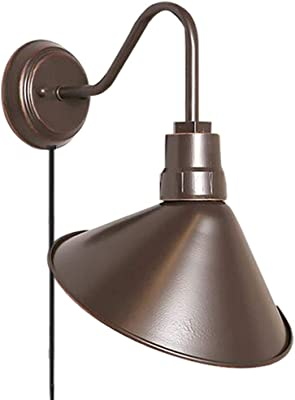 1-Light Barn Light Industrial Wall Sconce with Practical Plug, Cable and Switch
