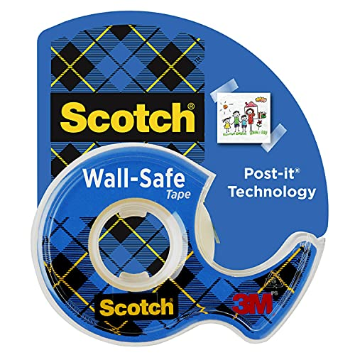 Scotch Wall-Safe Tape, 1 Rolls Sticks Securely, Removes Cleanly, Invisible, Designed for Displaying, Photo Safe, 3/4 in x 650 in (183)
