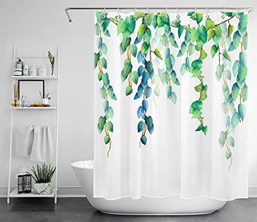 LB Grün Blätter Duschvorhang 150x180cm Aquarell Pflanzen Badewannenvorhang Weiß Kurz Anti Schimmel Wasserdicht Polyester Stoff Badezimmer Vorhang mit Haken