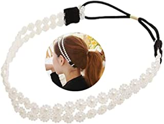 2 Pcs Fashion Double Layer Hair Rope Artificial Pearl Snowflakes Headband - Flowers Hair Ornaments Hair Bands Headdress for Women Lady Girl