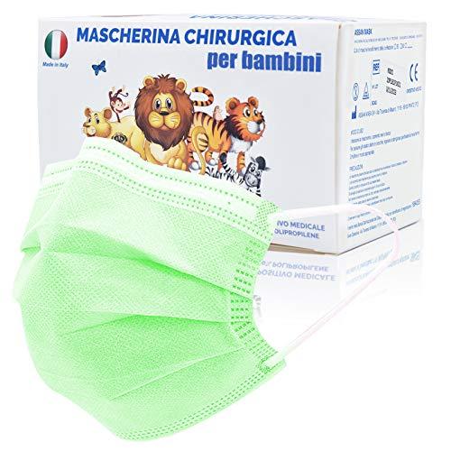 50 Stück Made in Italy bunte Schutzmasken für Kinder, 3 Schichten CE Typ IIR, verstellbare Nasenpolster, individuelle Packungen (grün)