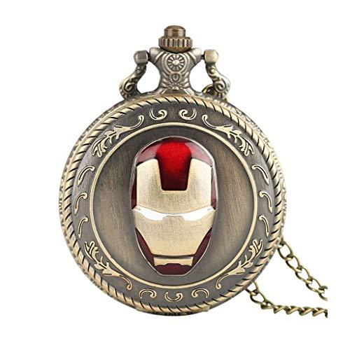 XXCHUIJU Antigua máscara Grande Reloj de Bolsillo Retro Justice League Cara mascarilla de Cuarzo Reloj de Bolsillo