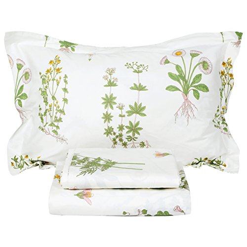 FADFAY Shabby Green Floral Sheet Set 100% Cotton Bed Sheet Set Green White Natural Hypoallergenic Bedding Set,4pcs-King
