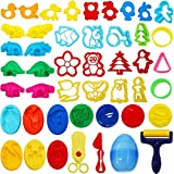 HEHALI 41pcs Play Dough Tools Playset Clay Dough Accessories Includes Various Plastic Doug...