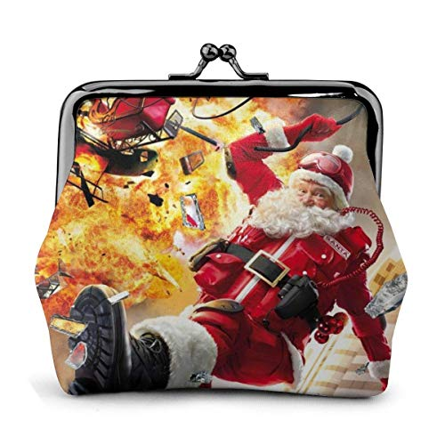 Christmas Santa Blows Up Reindeer Cars Xmas Vintage Pouch Girl Kiss-Lock Change Purse Wallets Buckle Leather Coin Purses Key Woman Printed