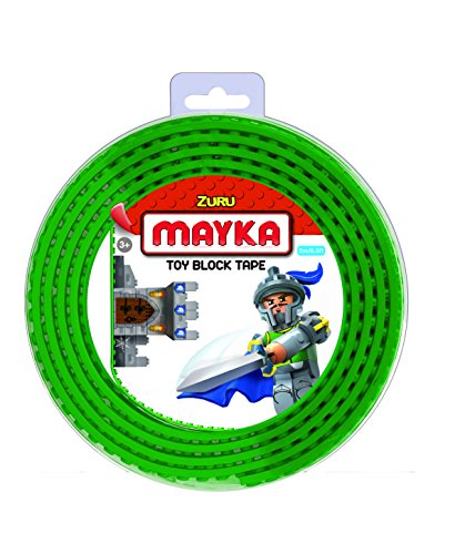 Mayka 34643 - Klebeband für Lego Bausteine, 2 m selbstklebendes Band mit 2 Noppen, grünes Bausteinband, flexibles Noppenband zum Bauen mit Legosteinen für Kinder ab 3 Jahre, wiederverwendbar
