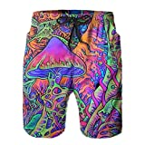Mens Swim Trunks 3D Print Bathing Suits Without Mesh Liner Psychedelic Trippy Mushroom