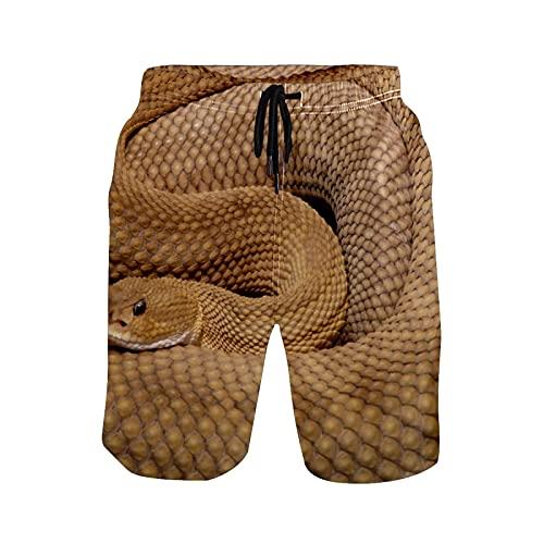 PINLLG Pantalones cortos de natación para hombre, diseño de serpiente salvaje serpiente serpiente cascabel Viper Beach Board traje de baño con bolsillos cintura ajustable S