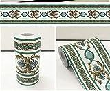 Borde del papel pintado Flor verde sobre blanco Auto Adhesivo del Papel Pintado del PVC Cenefa autoadhesiva para decoración de pared de cocina, baño10cmX10m