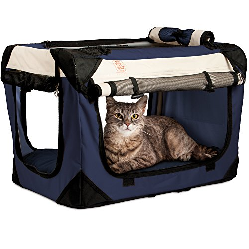 "PetLuv ""Happy Cat Premium Cat Carrier Soft Sided Foldable Top & Side Loading Pet Crate & Carrier Locking Zippers Shoulder Straps Seat Belt Lock Plush Pillow Reduces Anxiety (Large, Navy)"