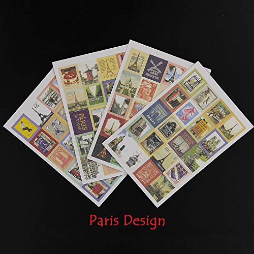 4 Sheets Vintage Stationery Sticker Stamp Old Paris London Paper Sticker Decoration DIY Diary Scrapbooking Seal Sticker Statione