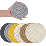 Absorbent Drink Coasters, Handmade Braided Drink Coasters, Set of 6 (4.3 Inch, Round, 8mm Thick), Super Absorbent Heat-Resistant Coasters for Drinks, Great Housewarming Gift (Set 1)