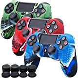 MXRC Silicone Rubber Cover Skin Case X 3 Anti-Slip Studded Dots Customize for PS4/SLIM/PRO Controller x 1(Camouflage Red & Blue & Green) + FPS PRO Stick Cover Thumb Grips x 8