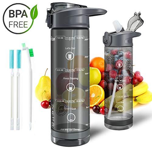 IceFrog Trinkflasche mit Strohhalm, [BPA Frei Tritan] Auslaufsicher Wasserflasche mit Skalar Sport, Sportflasche Fahrrad für Kinder Schule Camping Yoga Gym, 850ml