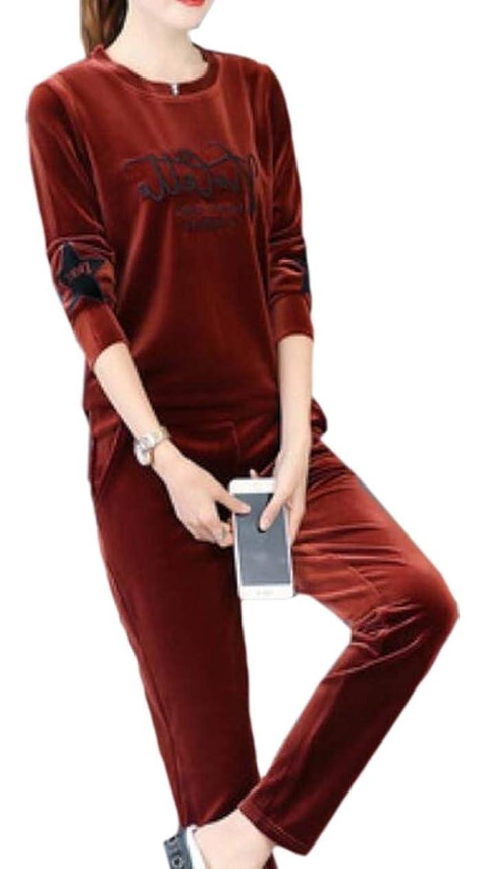コンデンサー情熱摂動女性の2パソコンフリルスリーブ2ピーススウェットシャツとパンツトラックスーツ