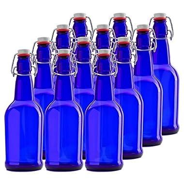 Chef's Star CASE OF 12 - 16 oz. EASY CAP Kombucha / Beer Bottles - BLUE