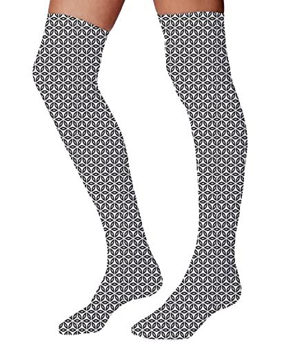 Calcetines de algodón peinados para hombre y mujer, diseño abstracto geométrico de primavera con diseño de hojas verdes repetidas sobre fondo blanco, Multicolor6, Talla única