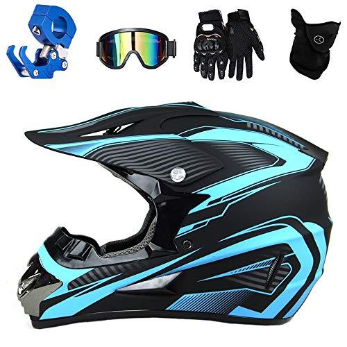 QYTK® Casco Motocross Adulto Azul Cielo, Negro Serie Motocicleta Cross Casco Accesorios con Gafas Guantes Mascarilla Casco Gancho Ganchos para Hombre Motorbike ATV MTB Karting,XL(58~59cm)