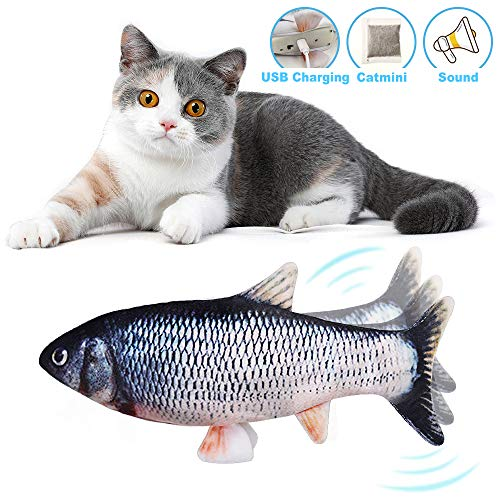 kolegend Electric Moving Fish Cat Toy Realistic Cat Kicker Fish Toy Funny Interactive Pets Chew Bite Supplies Wiggle Fish Catnip Toy for Cat Kitten Catfish