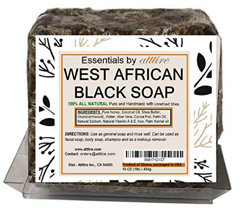 West African Black Soap  100% Organic #1 Psoriasis, Acne, Eczema Treatment  1 lb (16 oz) bar soap for Face, Hair & Body  Anti-aging & Wrinkles properties  Guaranteed results  Essentials by atttire