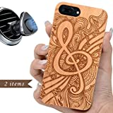 iProductsUS Music Phone Case Compatible with iPhone 8, 7, 6/6S and Magnetic Mount, Wooden Cases Engraved Music Sign Pattern, Built-in Metal Plate, TPU Shockproof Protective Covers (4.7 inch)