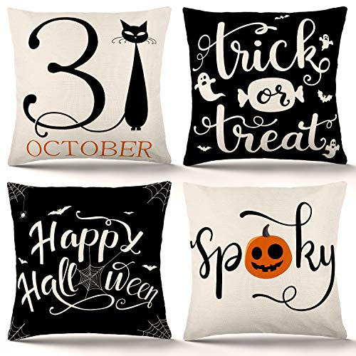 ZJHAI Halloween Pillow Covers 18×18 Inch Set of 4 Trick or Treat Pillow Covers Holiday Rustic Linen Pillow Case for Sofa Couch Halloween Decorations Throw Pillow Covers