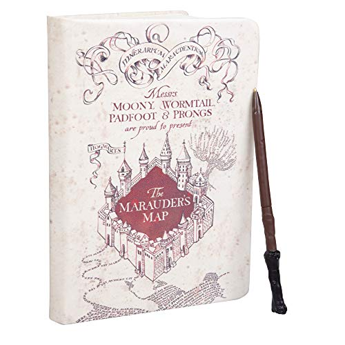 Harry Potter Marauder's Map Journal with Harry Wand Pen - 192 Blank Pages - 8.5' x 6'