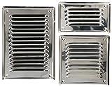 2.KOTARBAU - Rejilla de ventilación de acero inoxidable, 165 mm x 165 mm, color plateado con protección contra insectos, plateado