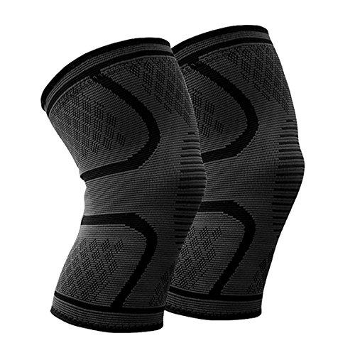 Beskey Kniebandage (Paar) Anti-Slip Kniestütze Super Elastisch Atmungsaktiv Knee Sleeves Hilfe Joint Pain Relief für Arthritis Leidende und Erholung von Verletzungen Fit für Den Sport (Schwarz, XL)